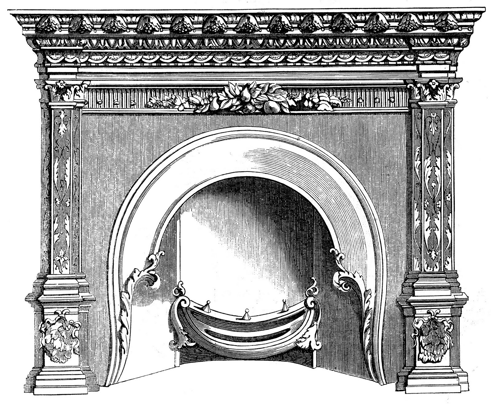 antique fireplace drawing