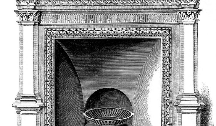 creyon drawing of antique fireplace