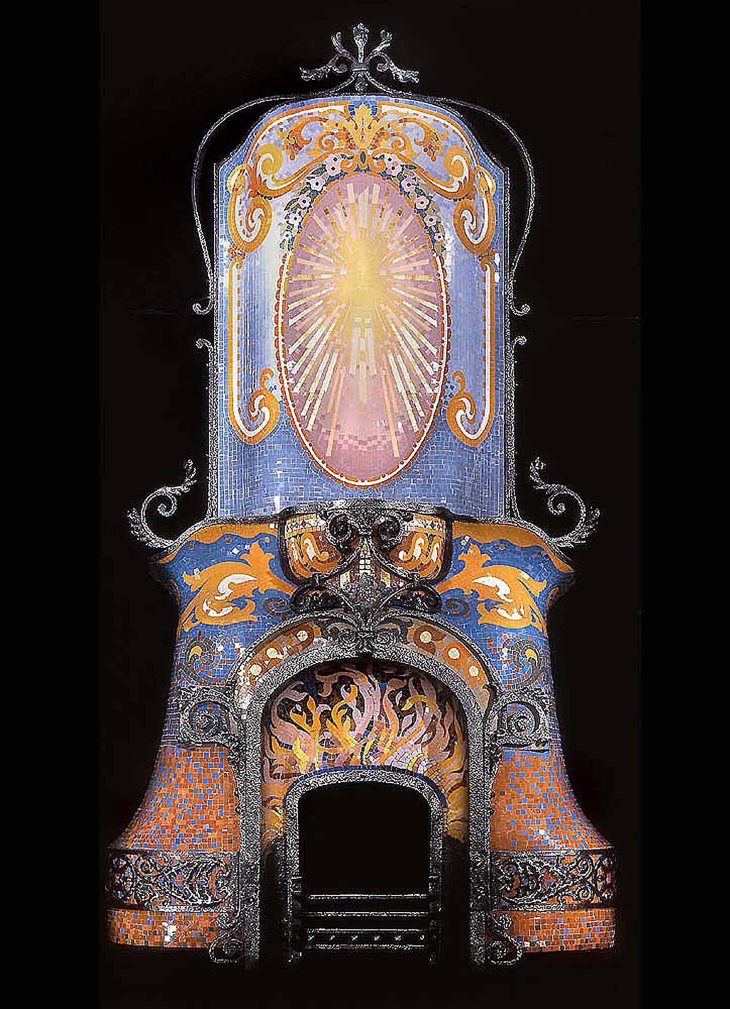 mozaic antique fireplace