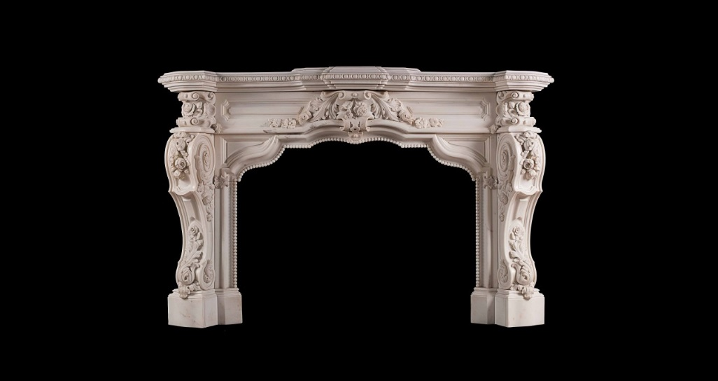 CARVED STATUARY ANTIQUE MARBLE FIREPLACE