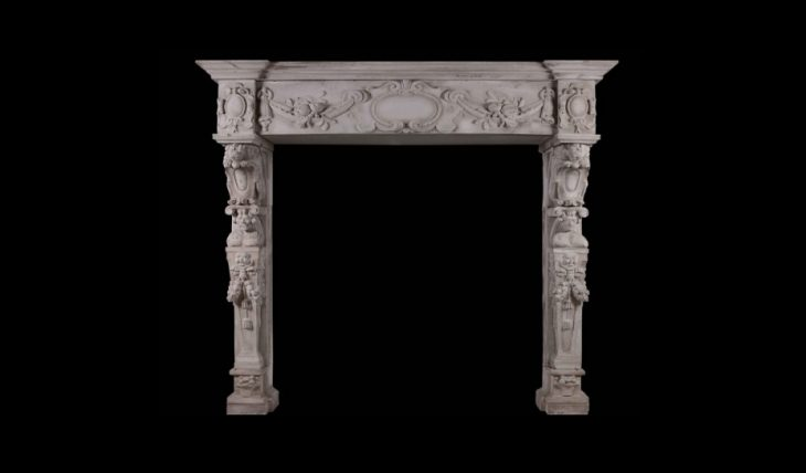 CARVED STONE RENAISSANCE FIREPLACE