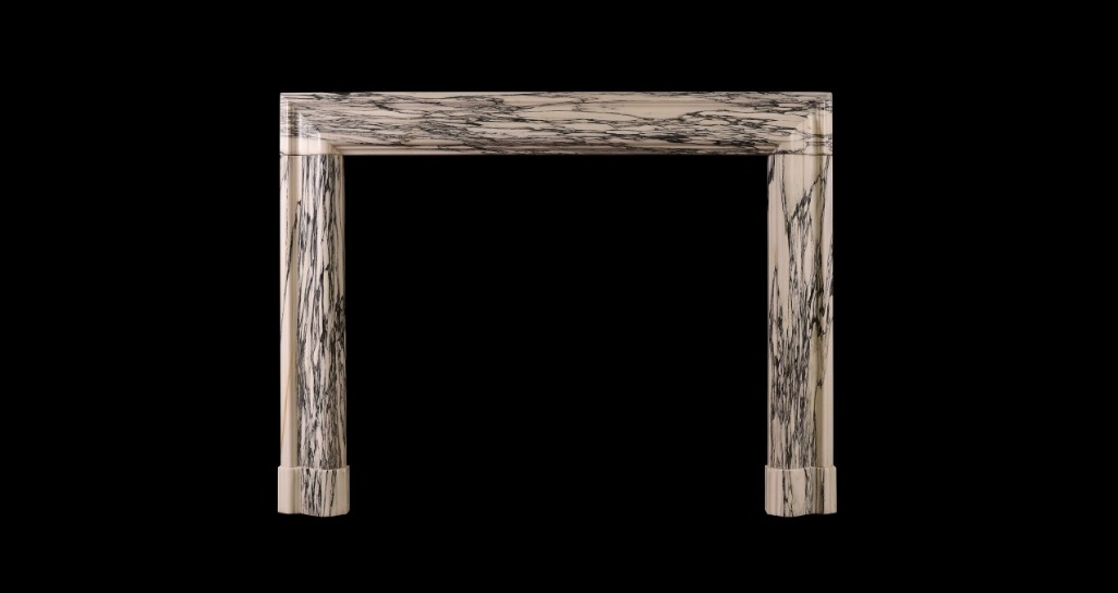 MOULDED BOLECTION FIREPLACE VEINED MARBLE